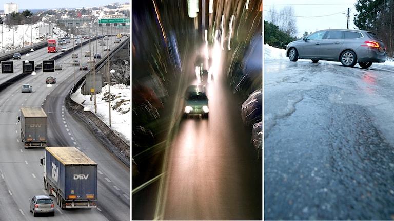 Tredelad bild: Bilar på en bro, bilar kör i mörker och en bil startar på en väg där det råder ishalka