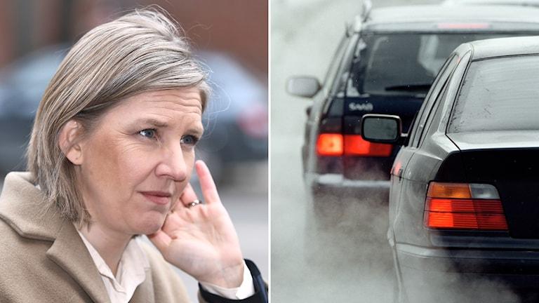 Miljöminister Karolina Skog och bilar med avgaser.
