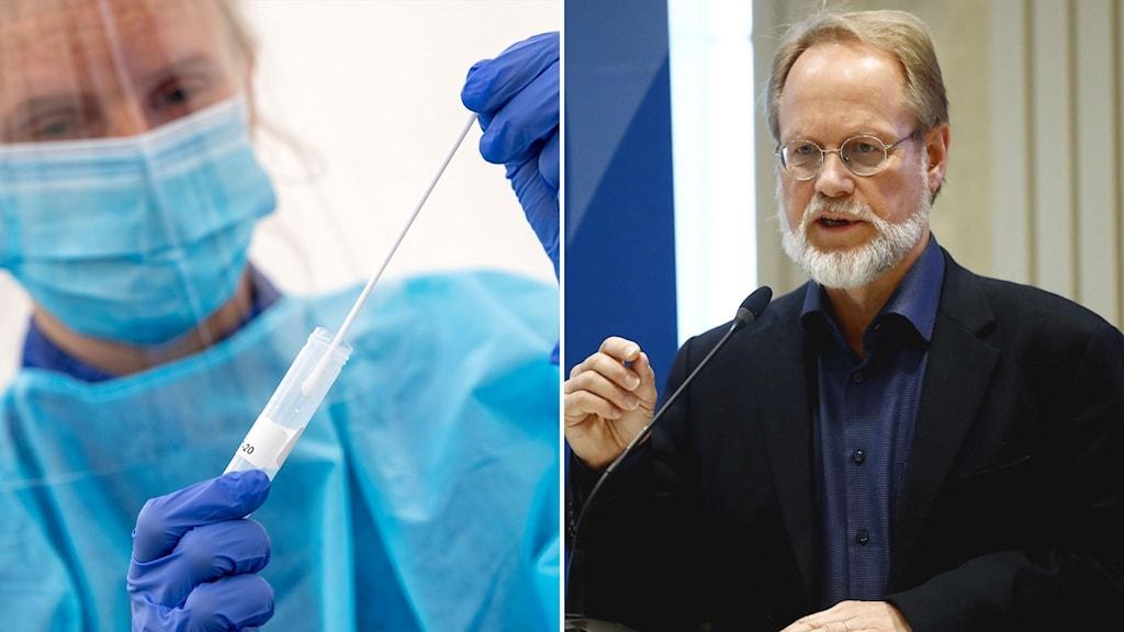 Till vänster: coronatester. Till höger: Leif Dotevall, biträdande smittskyddsläkare.