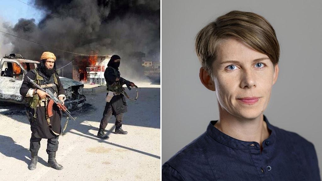 IS-krigare i Irak och Journalistförbundets ordförande Ulrika Hyllert.