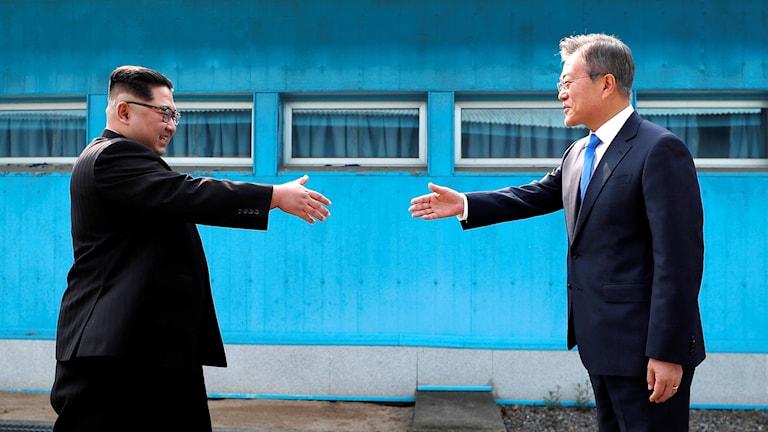 Nordkoreas ledare Kim Jong-un och Sydkoreas president Moon Jae-In.