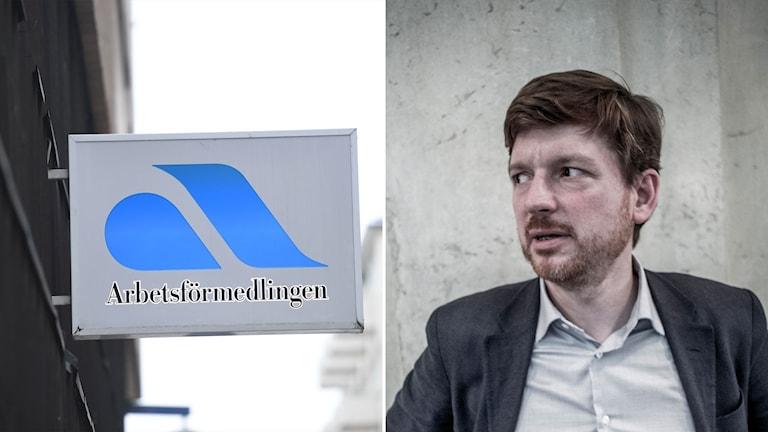Skylt på Arbetsförmedlingen och centerpartiets Martin Ådahl.