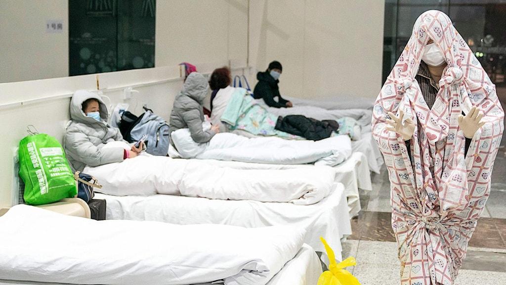 Provisoriskt sjukhus i Wuhan.