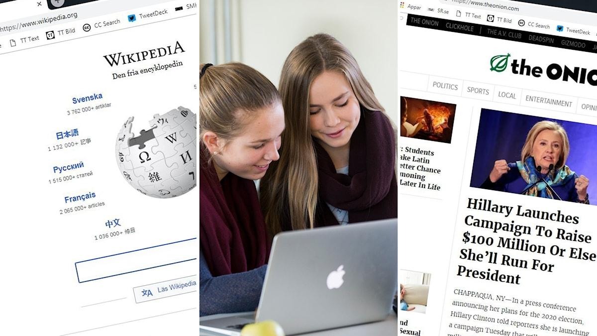 Tredelad bild: Wikipediasida, Skolelever vid en dator, satirsajt på nätet.
