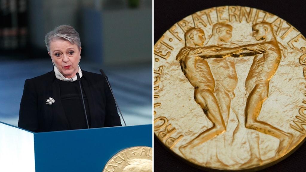 Bildmontage: Berit Reiss-Andersen från norka Nobelkommittén delar ut 2017 års pris/Nobelmedaljen.