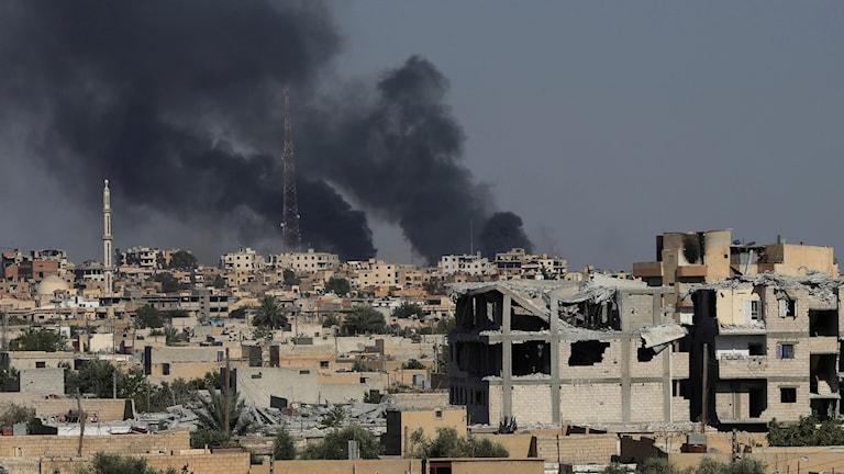 Stridigheter i Raqqa den 27 juli i år