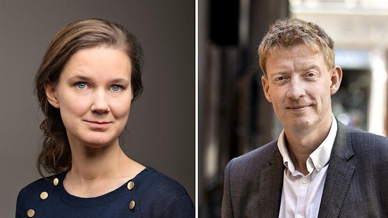Karin Svanborg-Sjövall, vd på Timbro, och Jesper Bengtsson chefredaktör på socialdemokratiska Tiden