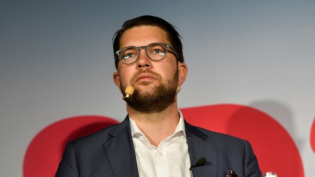 Pressträff med sverigedemokraternas Jimmie Åkesson ipå partiets dag i Almedalen.