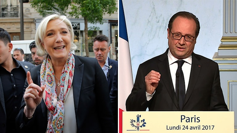 Bildkollage med Marine Le Pen Francois Hollande