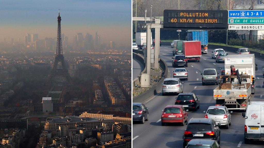 Arkivbilder. Luftföroreningar i Paris.