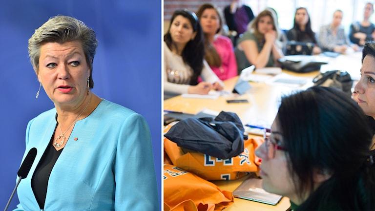 Till vänster arbetsmarknadsminister Ylva Johansson (S). Till höger deltagare i Stockholms Universitets pilotprojekt om ett snabbspår för lärare och förskollärare.