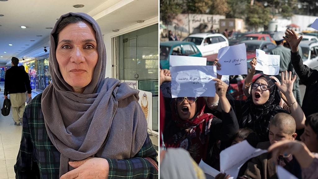 Sohayla Mani och en demonstration i Kabul.