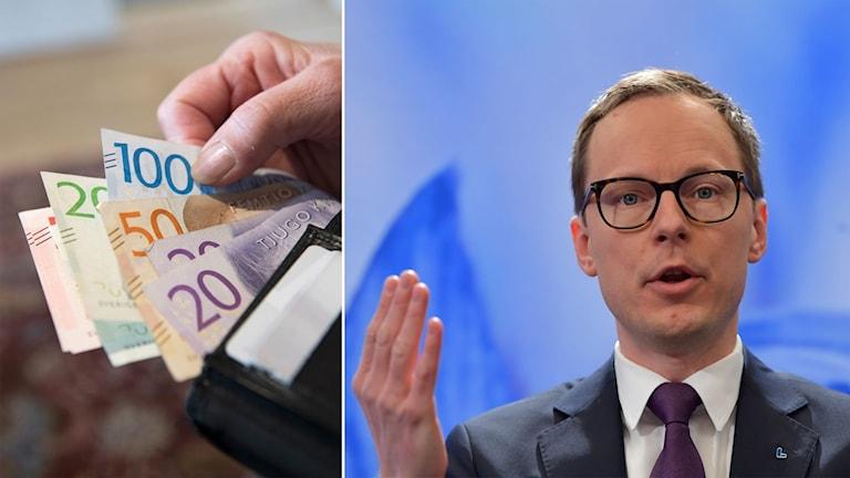 Sedlar i en plånbok och Liberalernas Mats Persson.