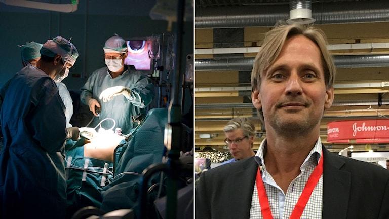 Operationssal. Till vänster kirurgen Magnus Kjellman.