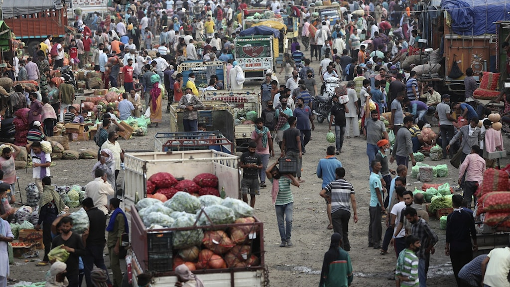 En marknad i Indien full med folk och marknadsstånd.