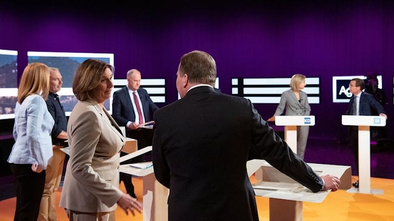 Partiledarna i SVT:s studio