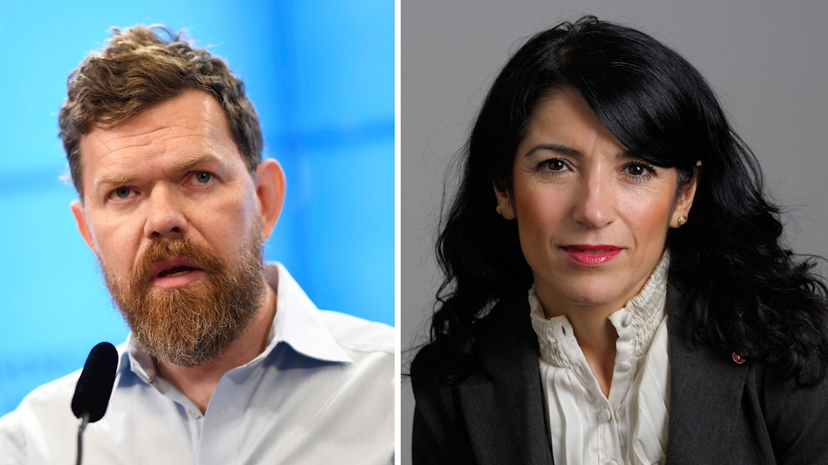 Kollage av Vänsterpartiets partisekreterare Aron Etzler och Amineh Kakabaveh.