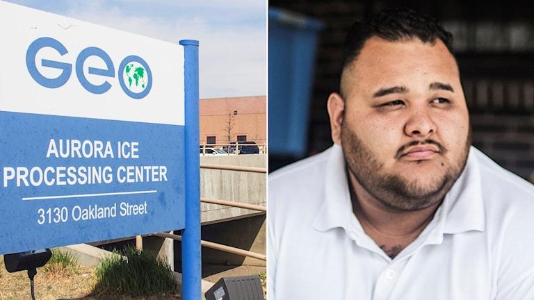 Bild av skylten utanför förvaret i Denver har 1500 platser, ansiktsbild av Cristian Heredia Torres är en av dem som tvingats till arbete där.