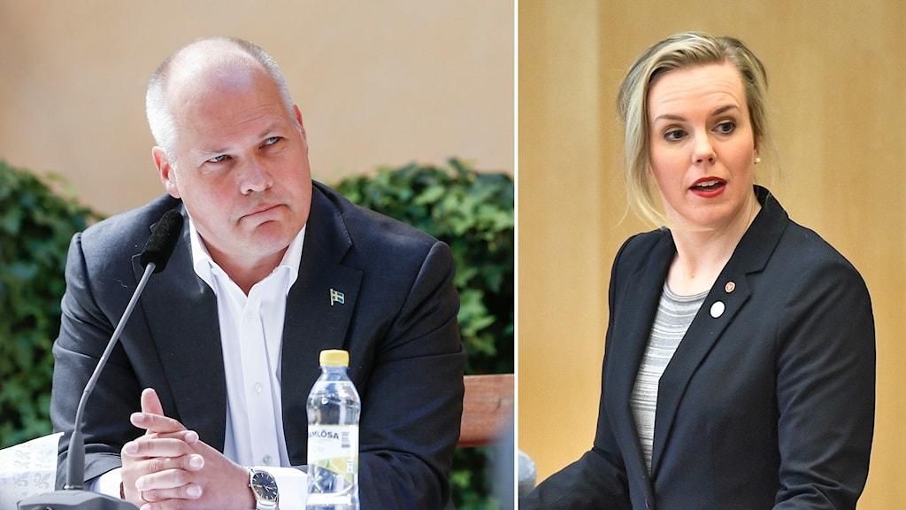 Justitieminister Morgan Johansson (S) och Linda Snecker, rättspolitisk talesperson för Vänsterpartiet.