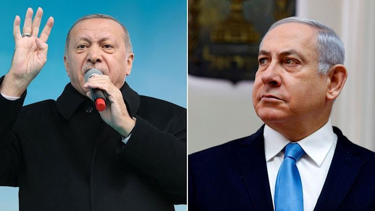 Turkiets president Erodgan, till höger Israels premiärminister Netanyahu.