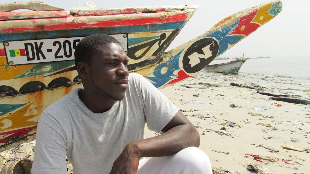 34-årige fiskaren Parfait från Senegal