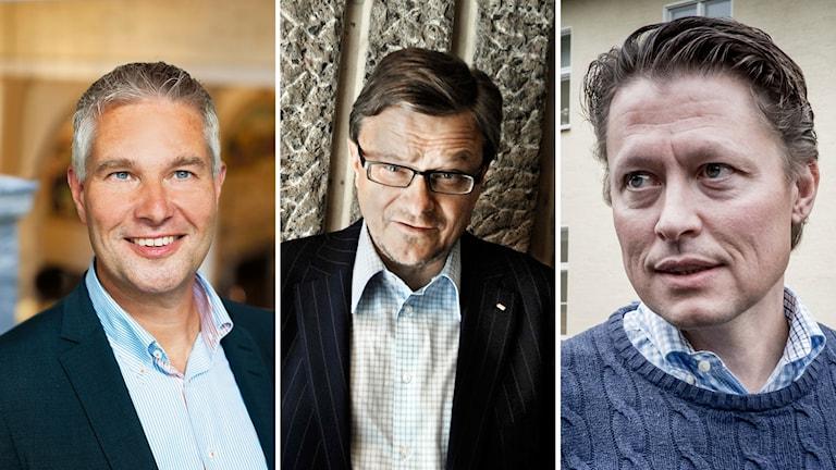 Henrik Brehmer, kommunikationschef på Capio, Peje Emilsson, grundare och ägare av Kunskapsskolan, Fredrik Gren, vd på Ambea.