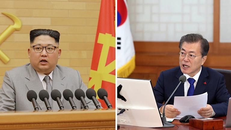 Nordkoreas diktator Kim Jong-Un och Sydkoreas nye president Moon Jae-in.