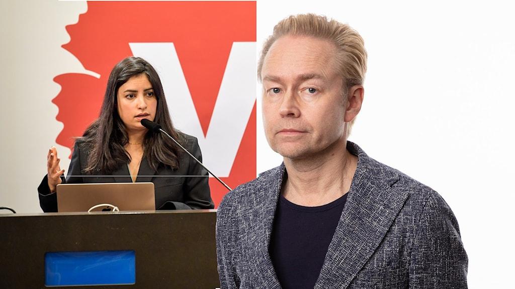 Montage med Vänsterpartiets ledare Nooshi Dadgostar och Ekots inrikespolitiske kommentator Fredrik Furtenbach