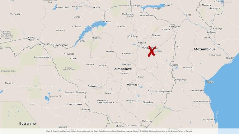 Karta över olycksplatsen
