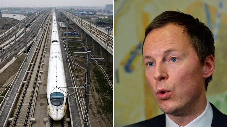 Kinesiskt snabbtåg i split med Mats Persson, Liberalernas ekonomiskpolitiska talesperson.