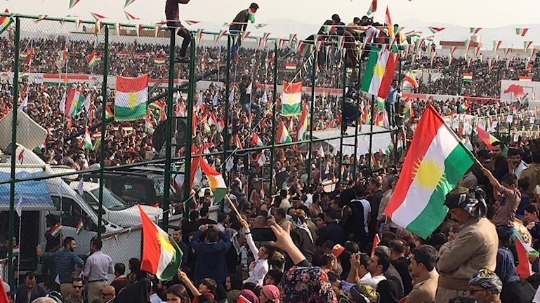 Kurdiska flaggor vid självständighetskampanjen i Sulimaniayh.