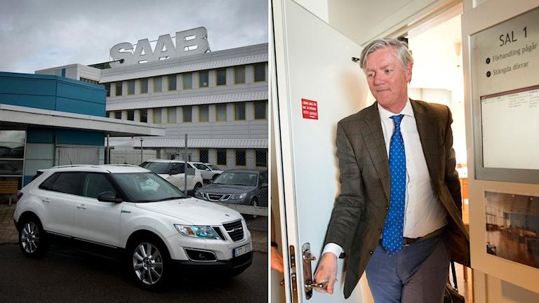 Delad bild: Saabfabriken i Trollhättan, Man som går ut ur en rättssal.