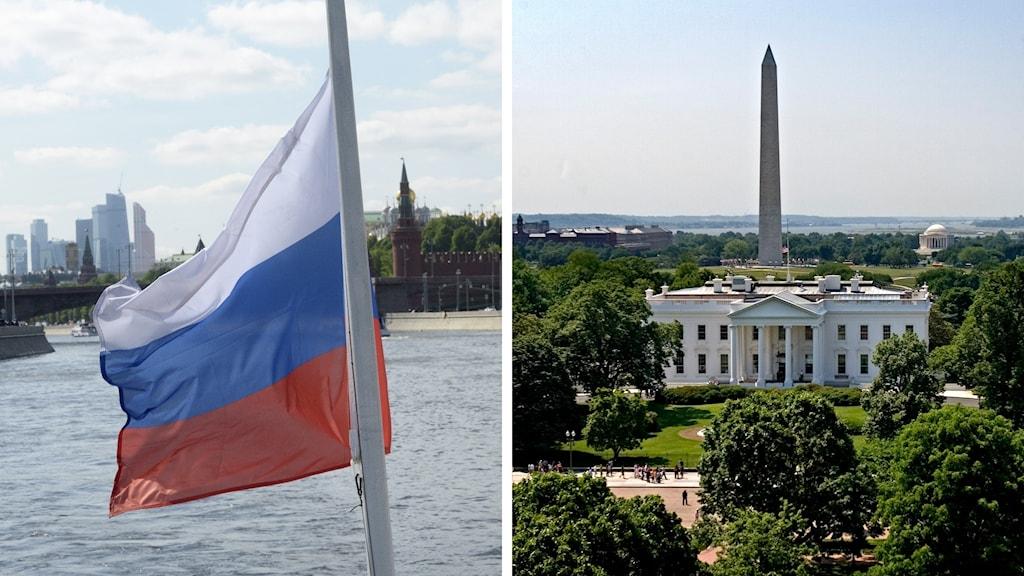 Rysslandsflagg och Vita Huset i USA