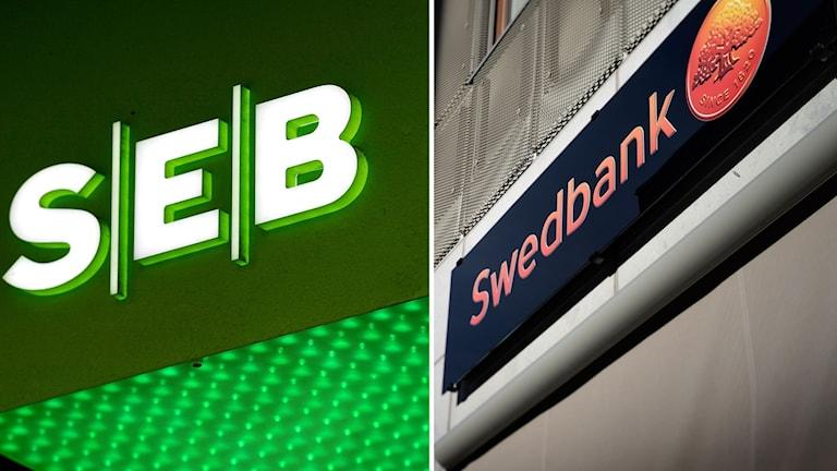 Kollage av SEB och Swedbanks loggor.