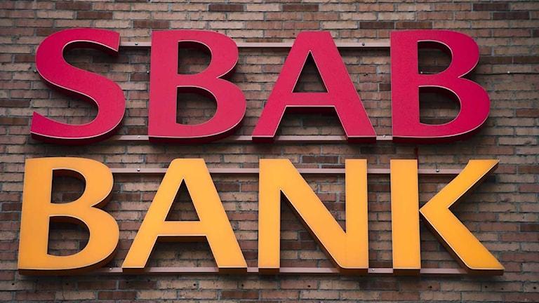 Skylt för SBAB Bank. Foto: Claudio Bresciani/Scanpix.