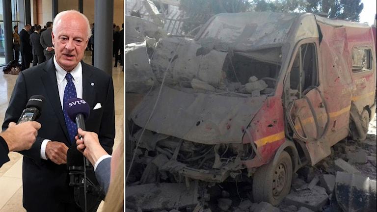 Tvådelad bild: Staffan de Mistura blir intervjuad av SR och SVT. Och en förstörd ambulans efter bombangrepp