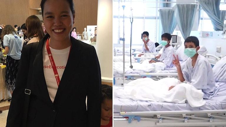 Delad bild: Kvinna i kavaj, tre pojkar i vita sjukhuskläder med munskydd.