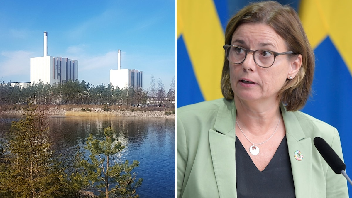 Montage med Forsmarks kärnkraftverk och vice statsminister Isabella Lövin (MP).