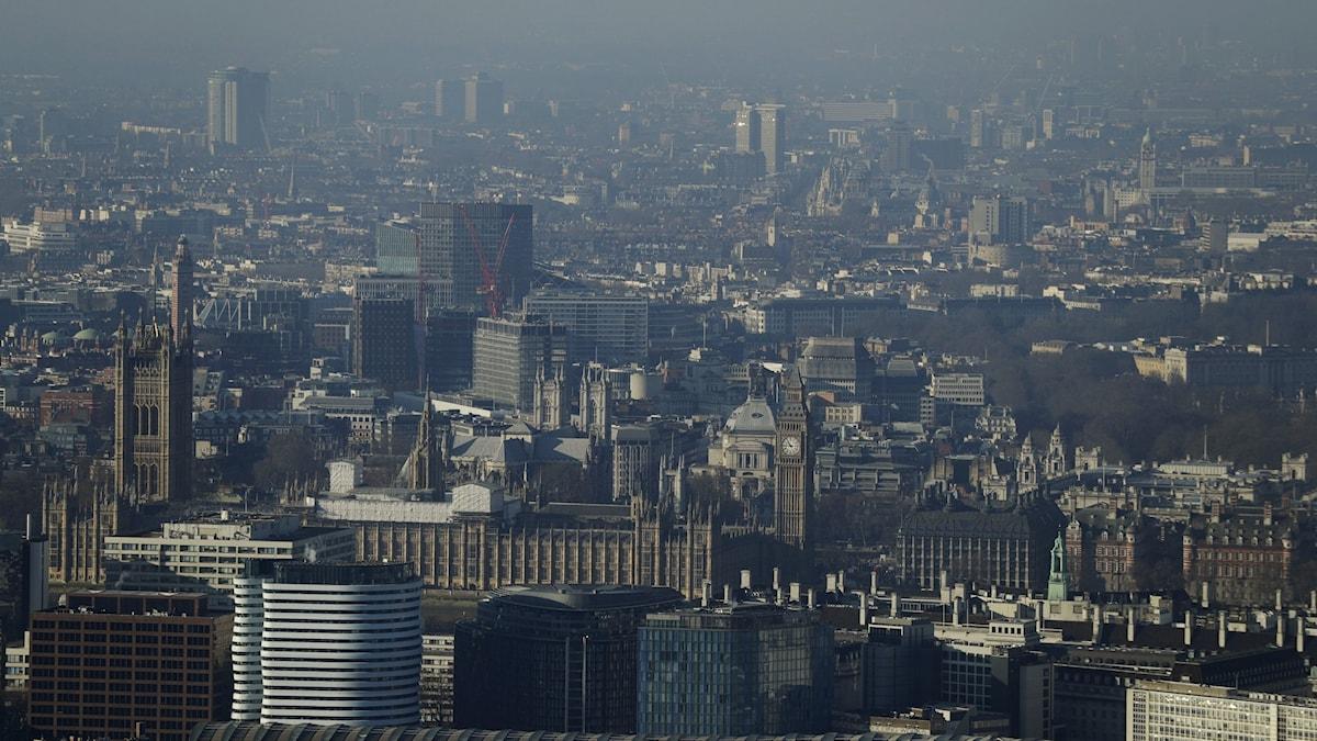 London från ovan. Luftförorening.