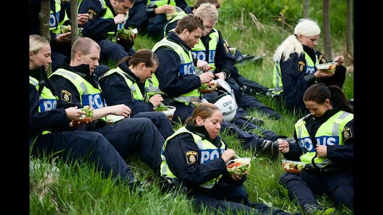 Lunchpaus i grönskan innan nästa övningsmoment. Polismyndigheten i Stockholms län genomför en utbildning. Foto: Markus Dahlberg/Scanpix.
