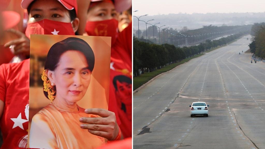 Delad bild: Kvinna håller upp bild på Aung San Suu Kyi, ensam bil på en åttafilig aveny.
