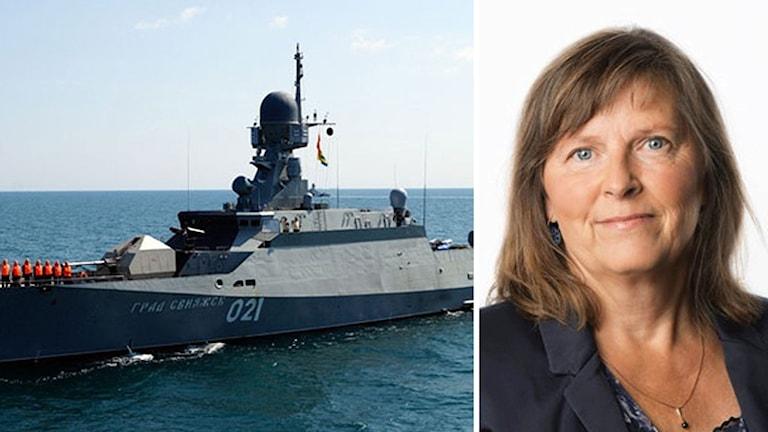 Bildmontage av en rysk korvett och Sveriges Radios korrespondent Maria Persson Löfgren.