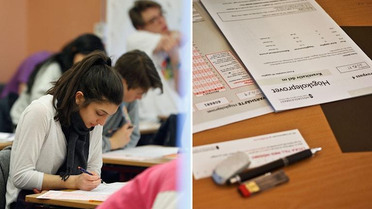 Studenter som skriver högskoleprovet.