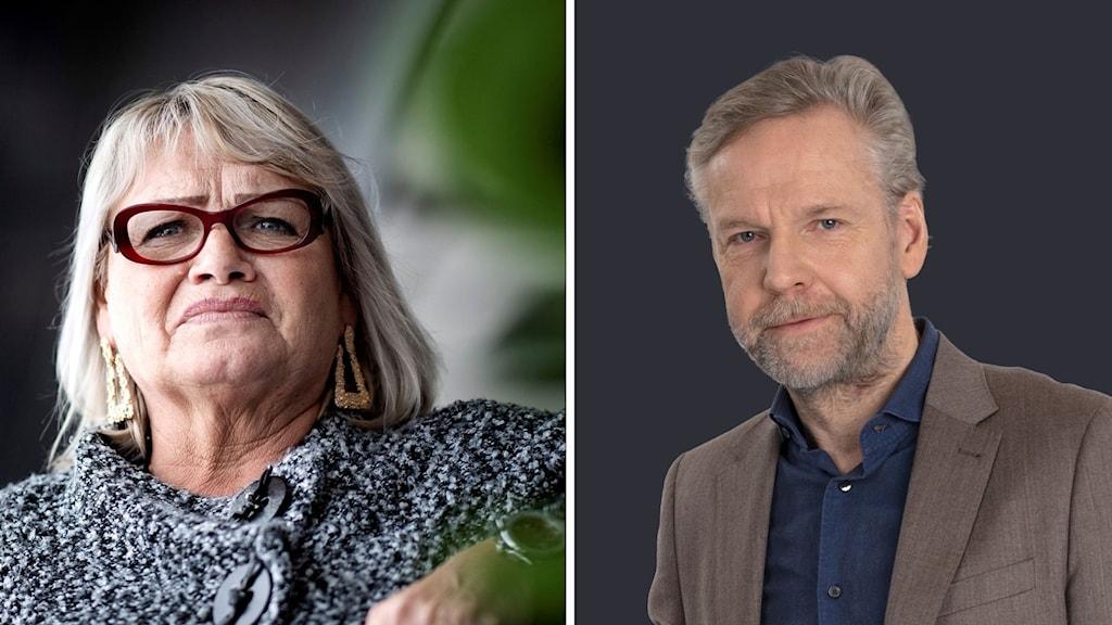Kollage av Soraya Post (FI) och Ekots kommentator Tomas Ramberg.