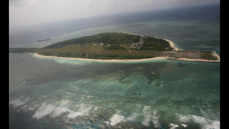 En bild i fågelperspektiv på en av Spratley-öarna.