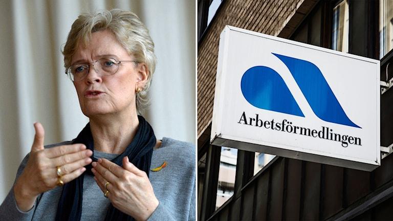 Svenskt näringslivs vd Carola Lemne och en skylt på Arbetsförmedlingen.