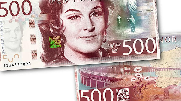 Formgivaren Göran Österlunds förslag till hur den nya femhundrakronorssedeln ska se ut. Foto: Riksbanken.