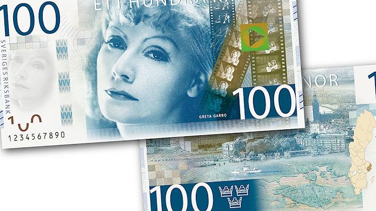 Formgivaren Göran Österlunds förslag till hur den nya hundrakronorssedeln ska se ut. Foto: Riksbanken.