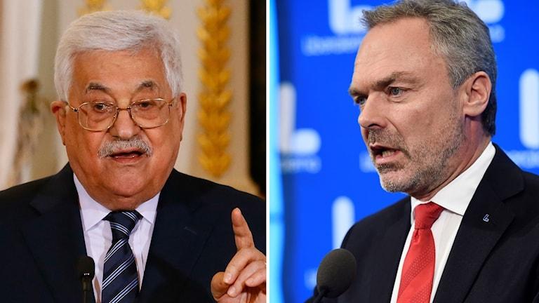 Arkivbild. den palestinska presidentens Mahmoud Abbas och Liberalernas Jan Björklund.
