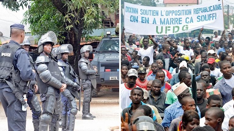 """Demonstranter i Conakry med plakat som lyder """"Stöd oppositionen. Nu är det nog.""""."""